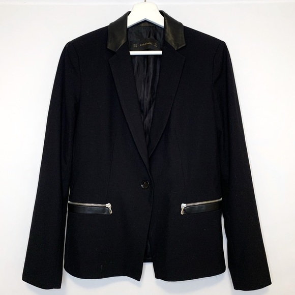 Zara Blazer with Leather Trim